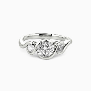 10K White Gold Harbor Of Love Engagement Three Stone Rings