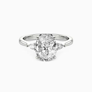 10K White Gold The Beginning Of Love Engagement Three Stone Rings