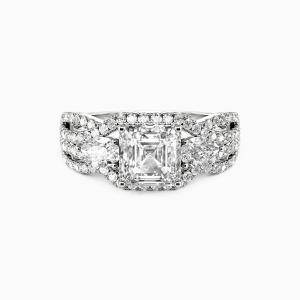 10K White Gold Pure Love Engagement Three Stone Rings