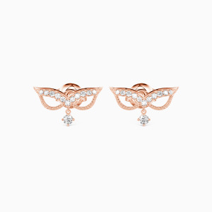 10K Rose Gold The Angel Face Jewelry Earrings