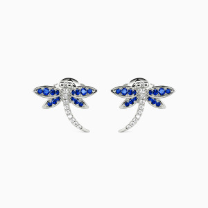 10K White Gold Dragonfly Playing In The Water Jewelry Earrings