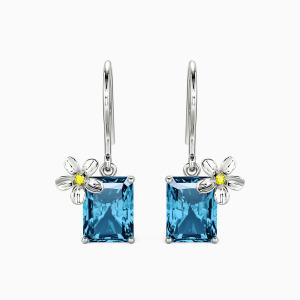 10K White Gold Flower Of The Sea Jewelry Earrings