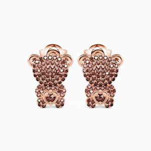 10K Rose Gold Cute Teddy Bear Jewelry Earrings