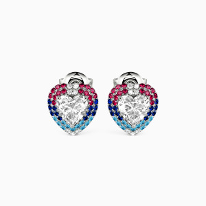 10K White Gold Take Me To Your Heart Jewelry Earrings
