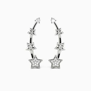 10K White Gold Twinkle Star Jewelry Earrings
