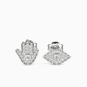 10K White Gold Hamsa & Evil Eye Jewelry Earrings