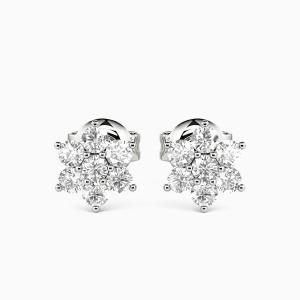 10K White Gold Little Stars Jewelry Earrings