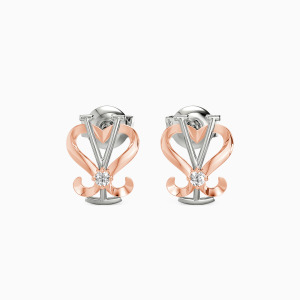 10K White Gold Love Symbol Jewelry Earrings