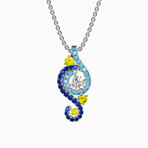 10K White Gold The Starry Night Jewelry Necklaces