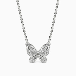 10K White Gold Flying Flower Jewelry Necklaces