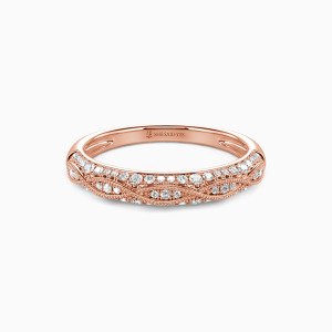 18K Rose Gold Infinity Love Wedding Classic Bands