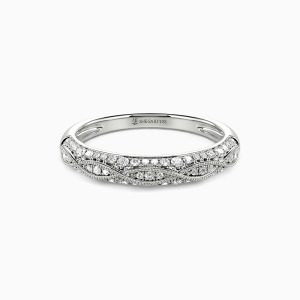 18K White Gold Infinity Love Wedding Classic Bands
