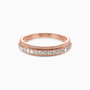 18K Rose Gold The Power Of Love Wedding Classic Bands
