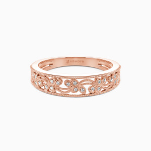 14K Rose Gold I Love You More Wedding Classic Bands