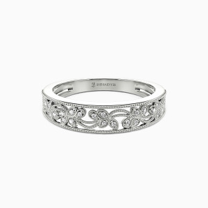 14K White Gold I Love You More Wedding Classic Bands
