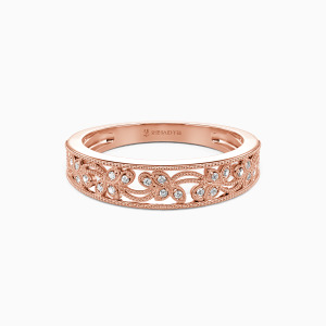 18K Rose Gold I Love You More Wedding Classic Bands