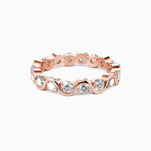 14K Rose Gold The Beauty of Life Wedding Eternity Bands