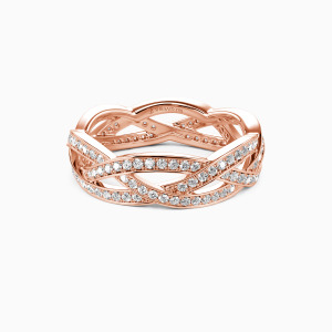 14K Rose Gold Light In The Darkness Wedding Eternity Bands
