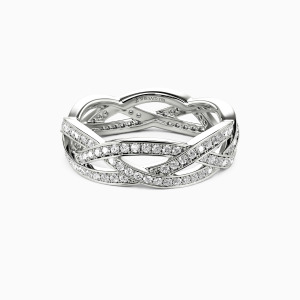14K White Gold Light In The Darkness Wedding Eternity Bands