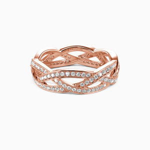 18K Rose Gold Light In The Darkness Wedding Eternity Bands
