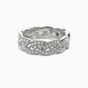 14K White Gold  Fallin' All In You Wedding Eternity Bands