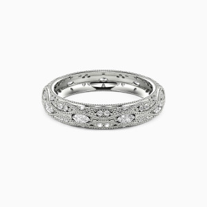 14K White Gold Love Is Love Wedding Eternity Bands