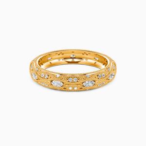 18K Gold Love Is Love Wedding Eternity Bands