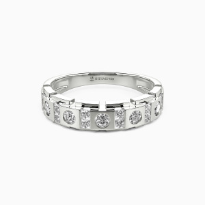 14K White Gold You And Me Wedding Men's Bands