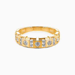 18K Gold You And Me Wedding Men's Bands