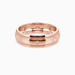 14K Rose Gold You And Gentleness Wedding Men's Bands