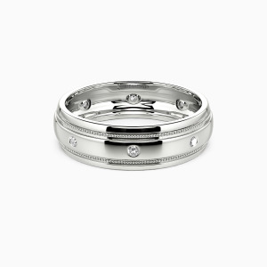 14K White Gold You And Gentleness Wedding Men's Bands