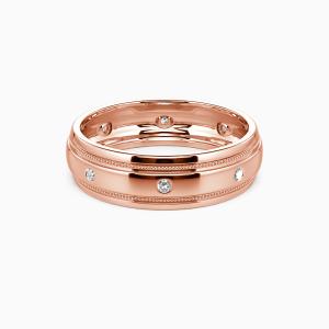 18K Rose Gold You And Gentleness Wedding Men's Bands