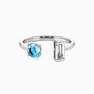 10K White Gold You and Me Jewelry Rings